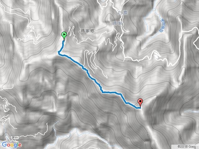 真笠山東北峰登山口至鱈葉根山三角點