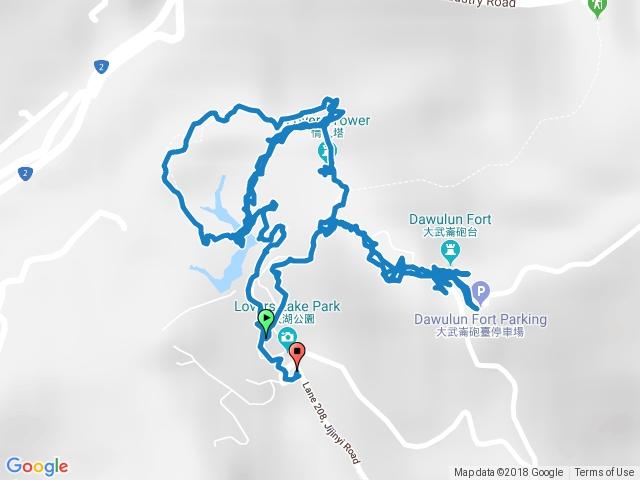 情人湖 --> 環山&環湖步道 --> 老鷹岩 --> 城堡觀景台 --> 大武崙砲台 --> 大武崙山