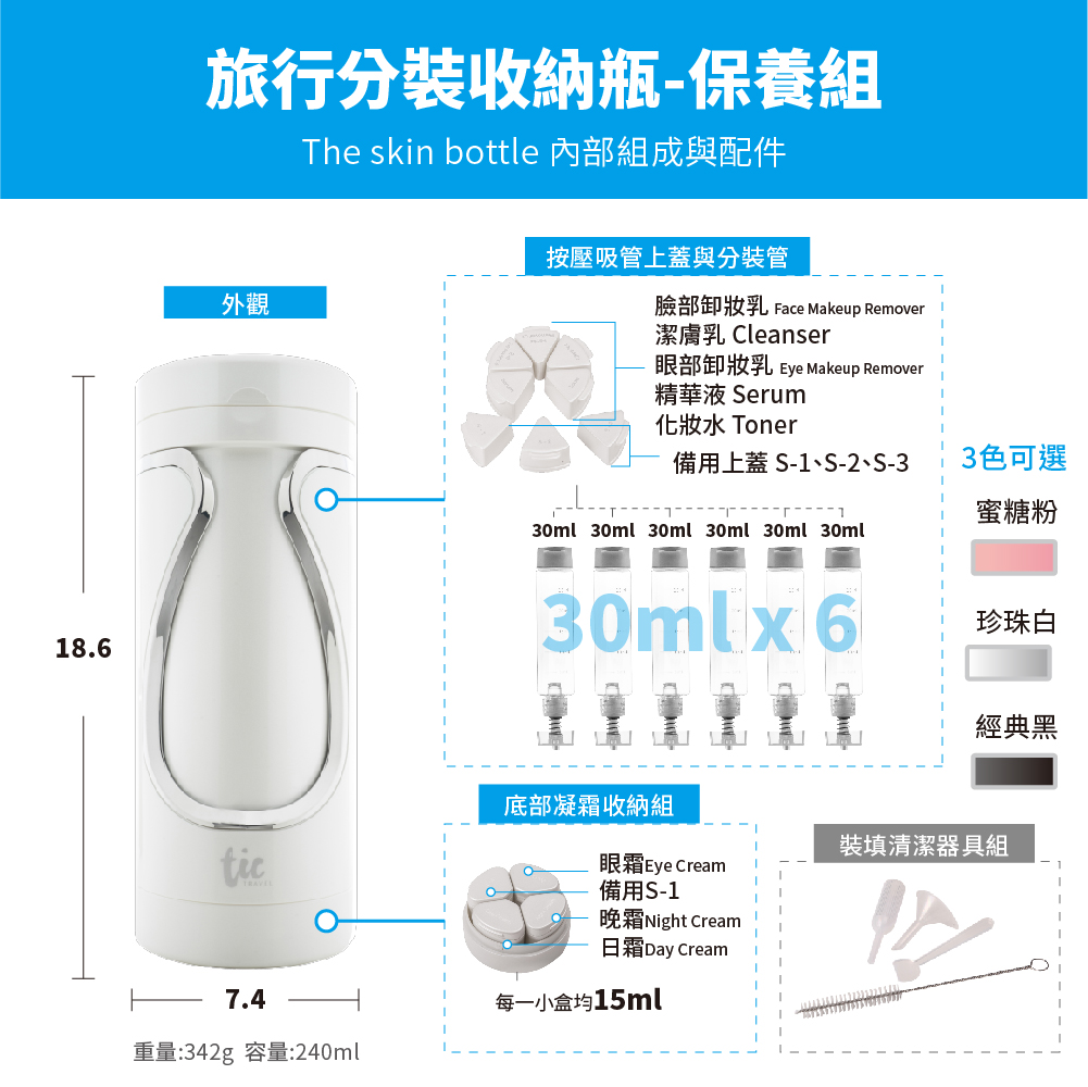 【Tic design】沐浴+保養 旅行分裝收納瓶(1個抵10個、密封不外漏、Travel bottle)6