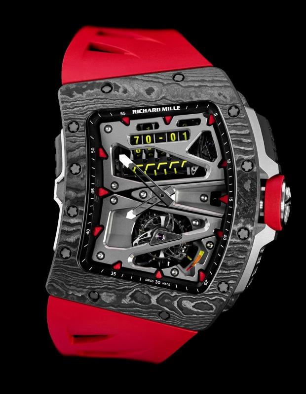 RM 70-01 Alain Prost陀飛輪腕表,表殼為TPT碳纖維,具70小...