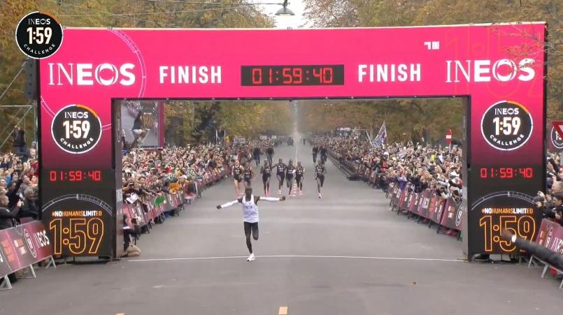 【突破人類極限】Eliud Kipchoge最終以1:59:40.2 完成全馬