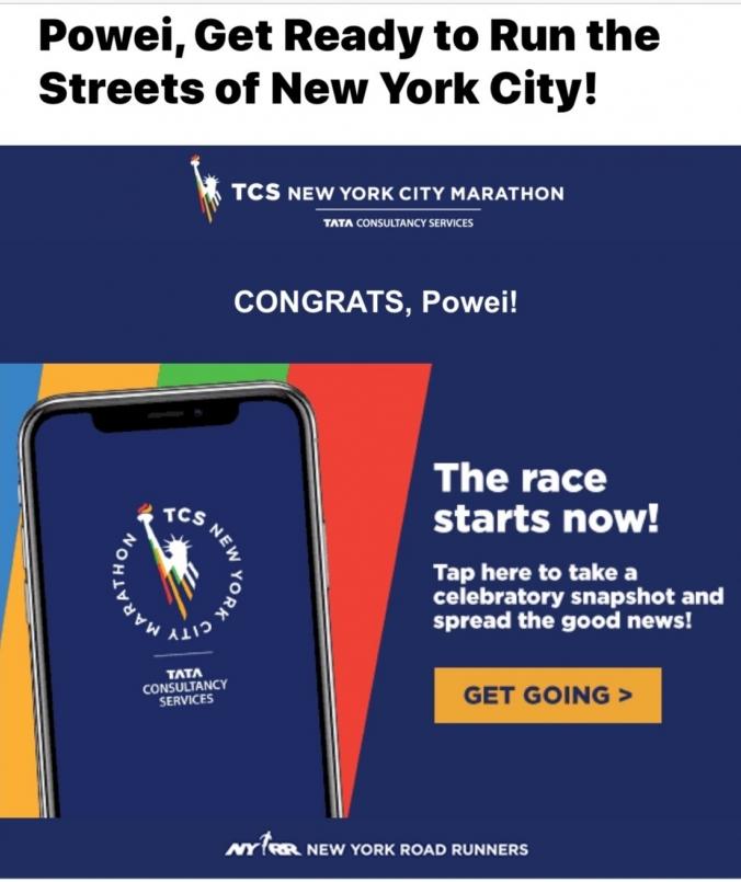 紐約馬拉松中籤通知