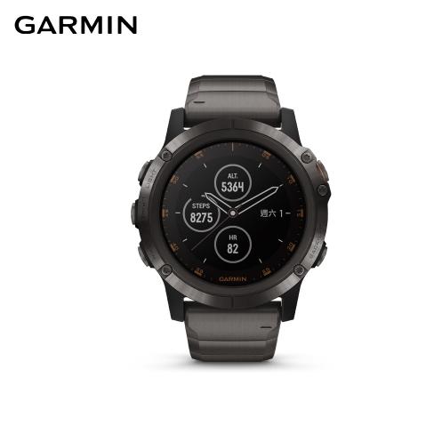 【GARMIN】電池續航升級 fenix 5x Plus 行動支付音樂GPS複合式心率腕錶 鈦錶帶(多星定位導航、內建地圖)2
